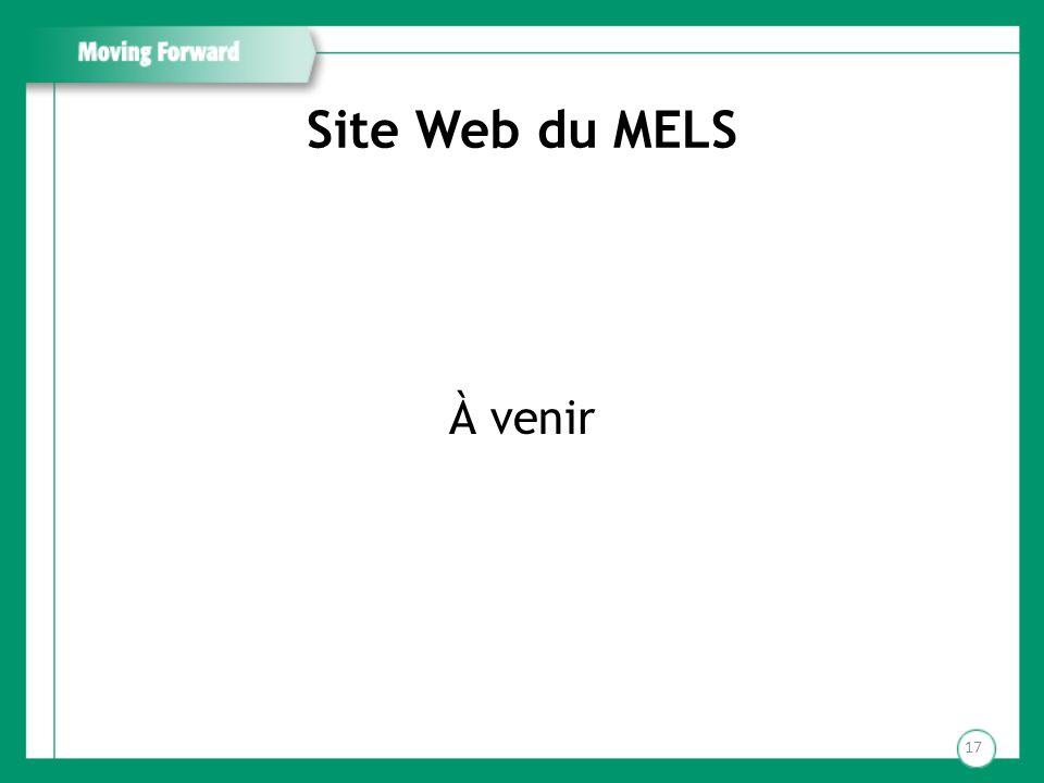 Site Web du MELS À venir