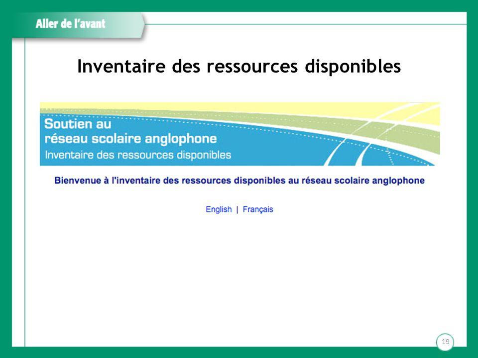 Inventaire des ressources disponibles