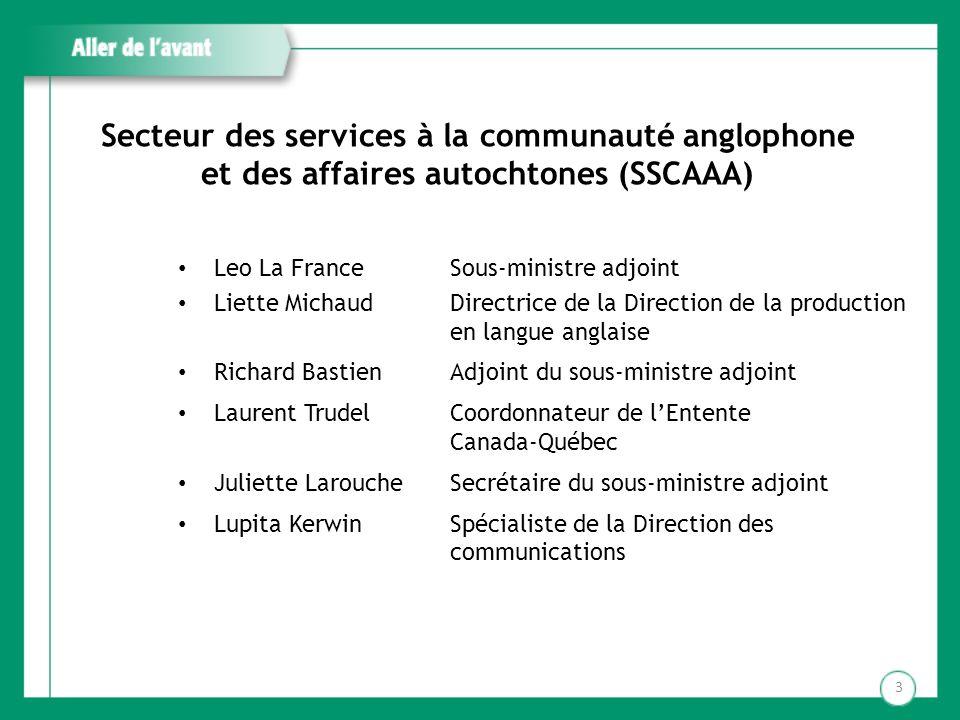 Secteur des services à la communauté anglophone et des affaires autochtones (SSCAAA)
