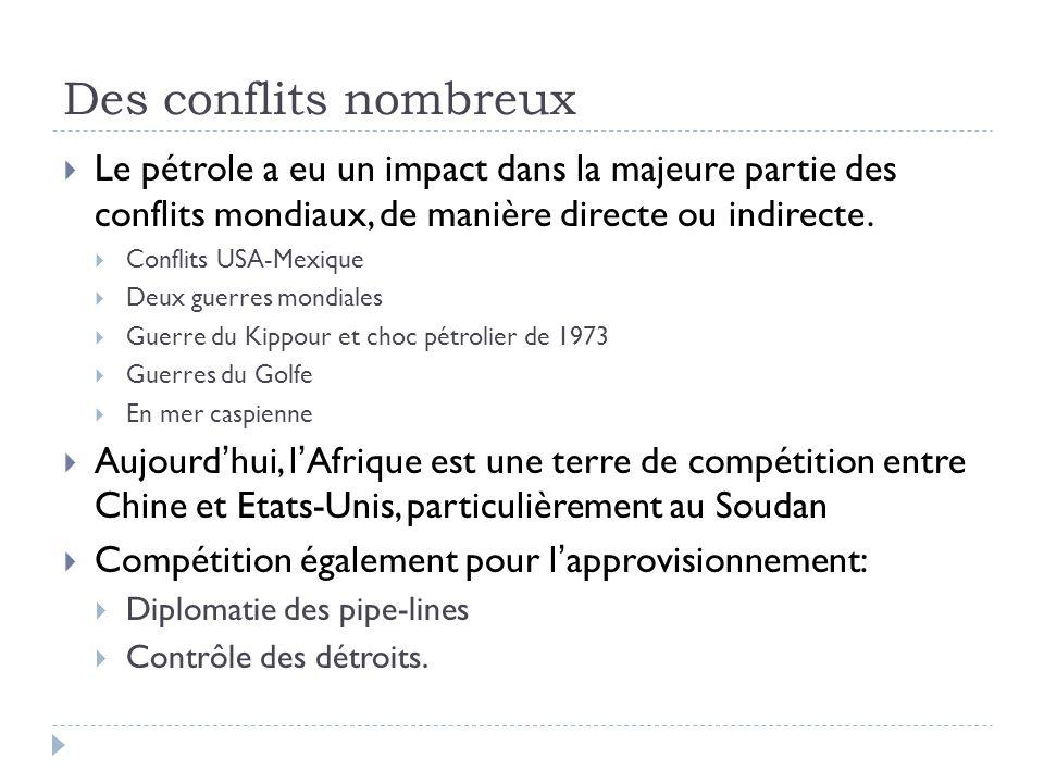 Des conflits nombreux Le pétrole a eu un impact dans la majeure partie des conflits mondiaux, de manière directe ou indirecte.