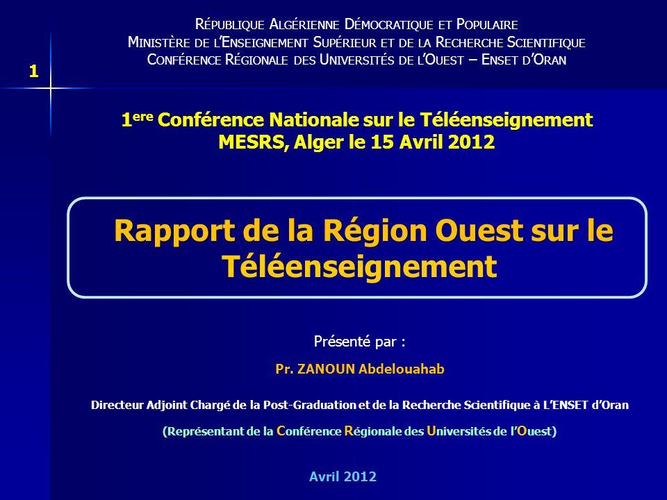 Rapport de la Région Ouest sur le Téléenseignement