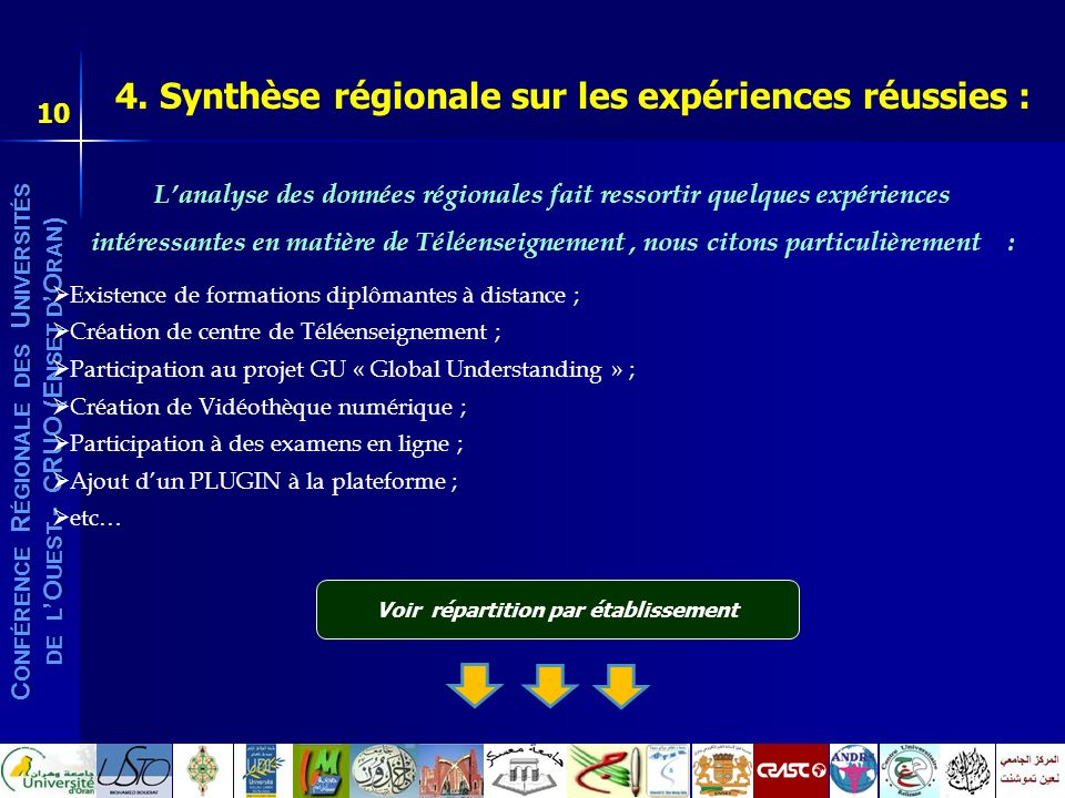 4. Synthèse régionale sur les expériences réussies :
