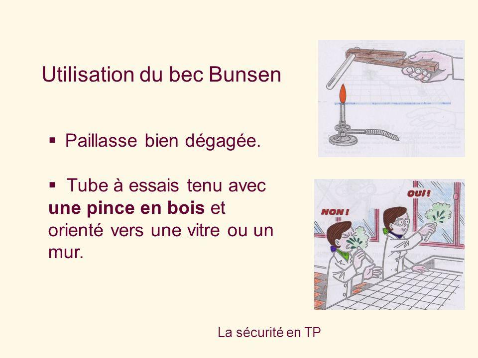 Utilisation du bec Bunsen