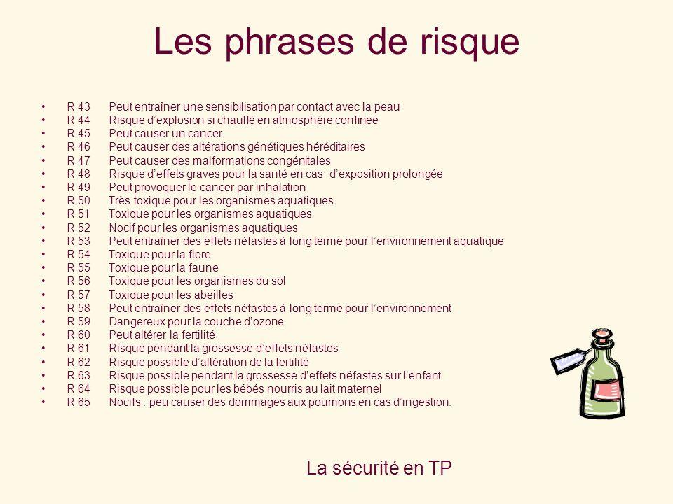 Les phrases de risque La sécurité en TP M. Parisis