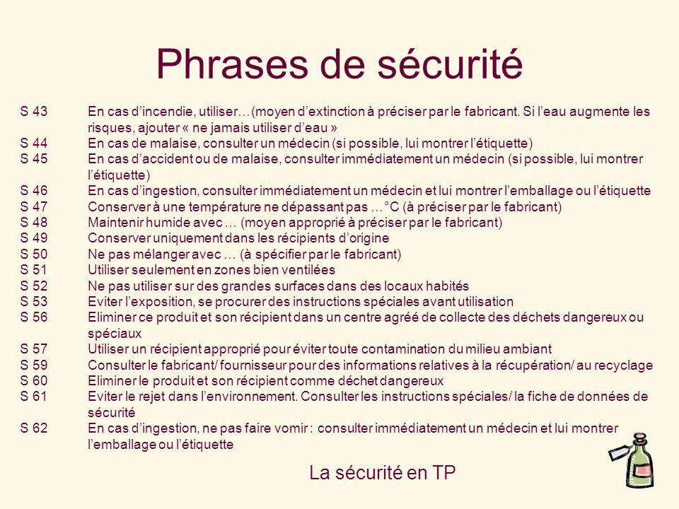Phrases de sécurité La sécurité en TP