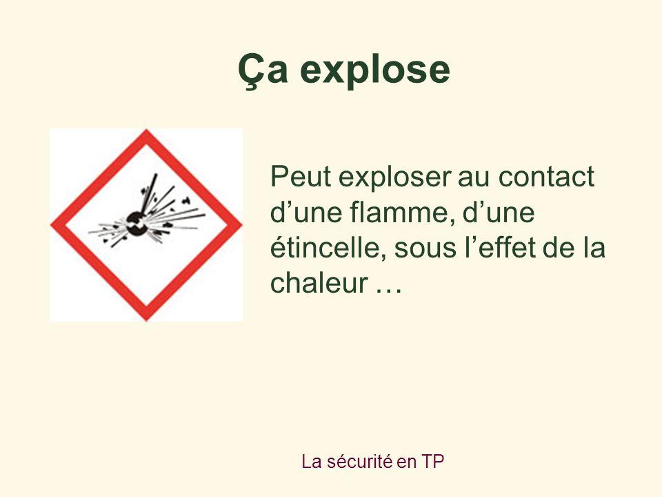 Ça explose Peut exploser au contact d'une flamme, d'une étincelle, sous l'effet de la chaleur … La sécurité en TP.