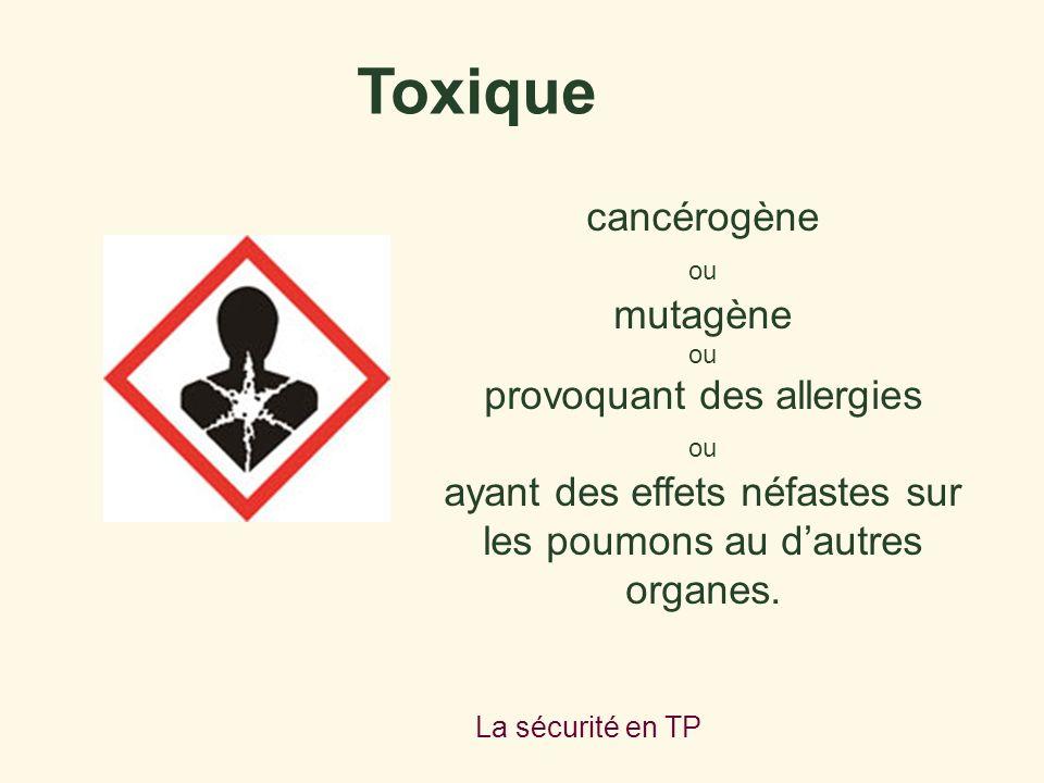 Toxique cancérogène mutagène provoquant des allergies