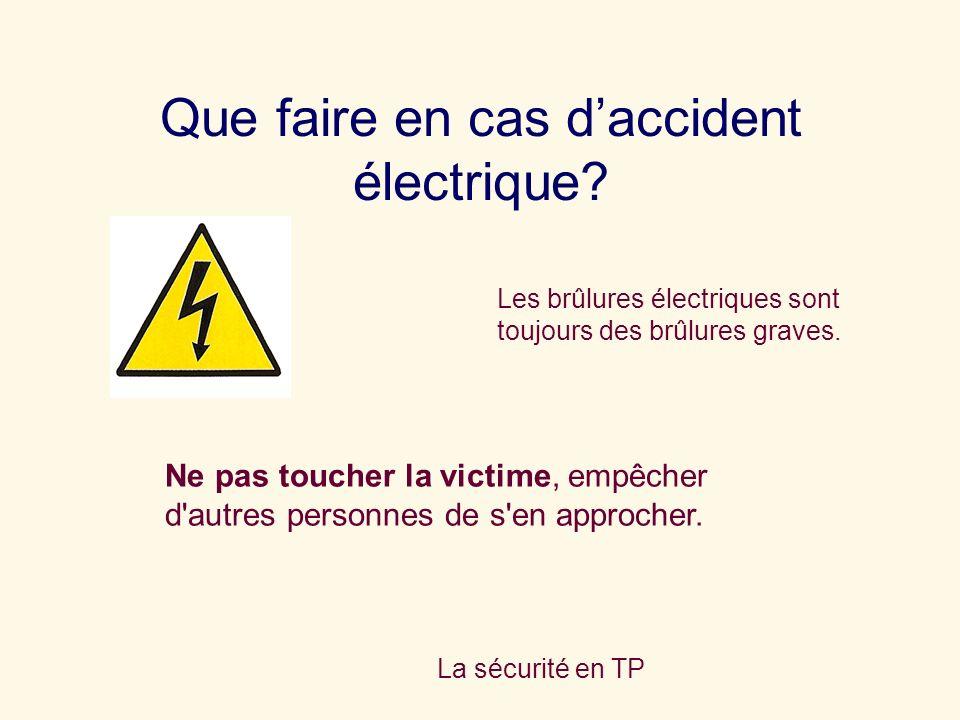 Que faire en cas d'accident électrique