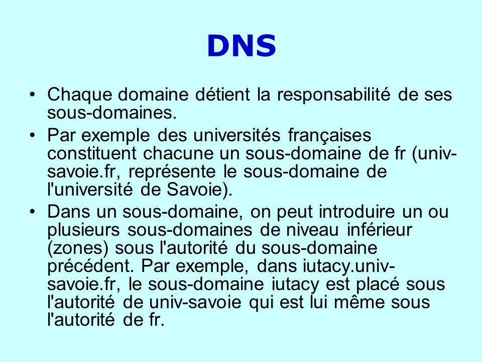 DNS Chaque domaine détient la responsabilité de ses sous-domaines.
