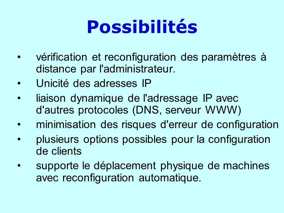 Possibilités vérification et reconfiguration des paramètres à distance par l administrateur. Unicité des adresses IP.