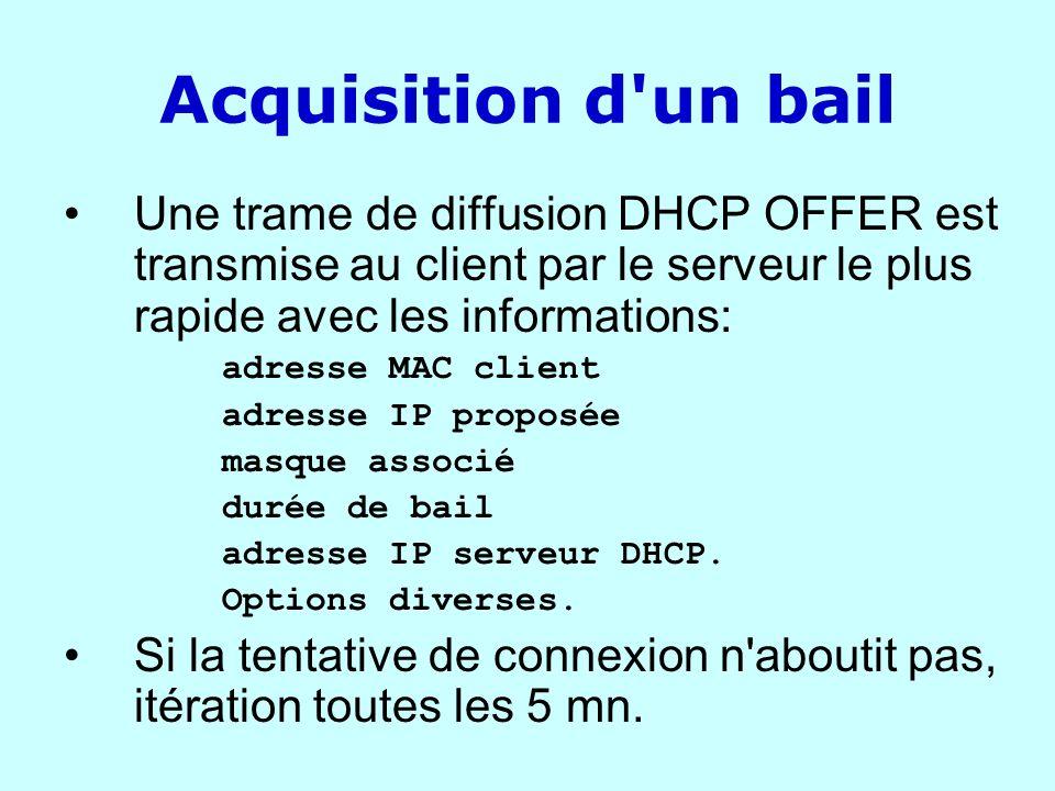 Acquisition d un bail Une trame de diffusion DHCP OFFER est transmise au client par le serveur le plus rapide avec les informations: