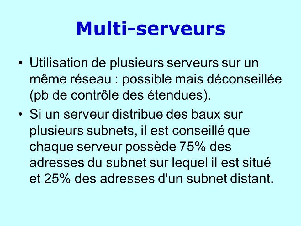 Multi-serveurs Utilisation de plusieurs serveurs sur un même réseau : possible mais déconseillée (pb de contrôle des étendues).