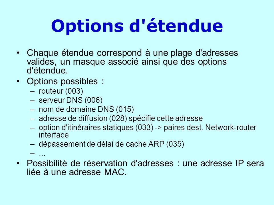 Options d étendue Chaque étendue correspond à une plage d adresses valides, un masque associé ainsi que des options d étendue.