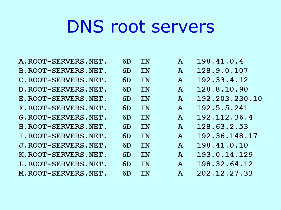 DNS root servers A.ROOT-SERVERS.NET. 6D IN A 198.41.0.4