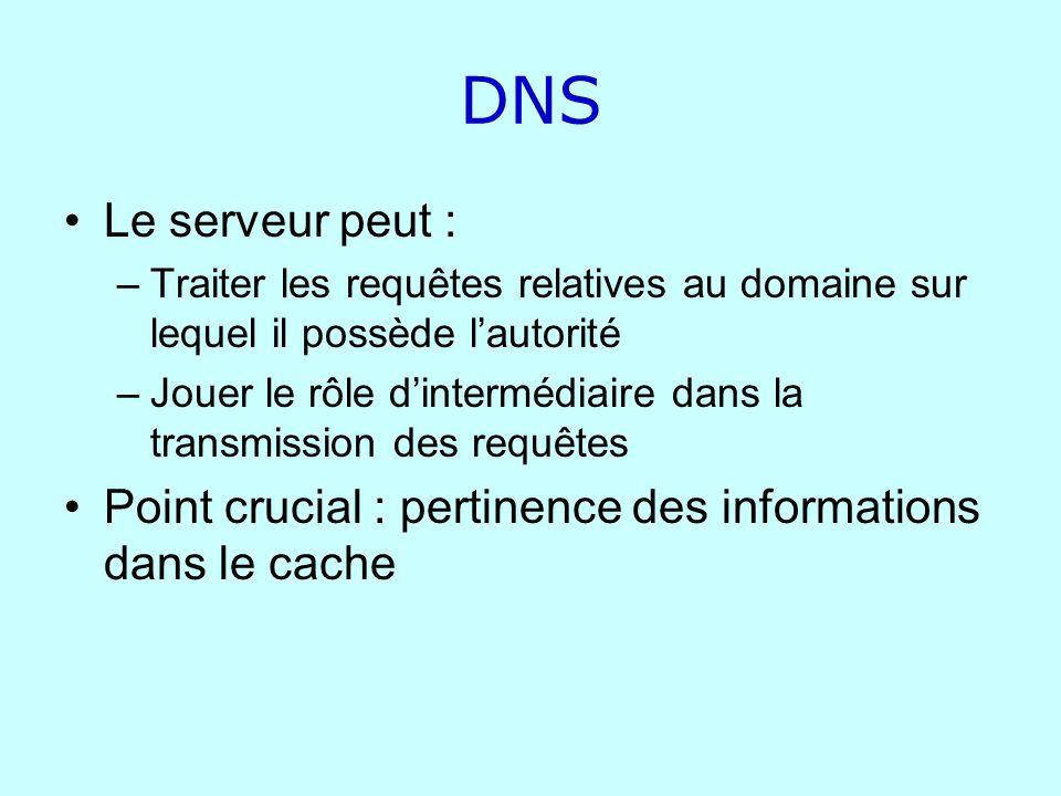 DNS Le serveur peut : Traiter les requêtes relatives au domaine sur lequel il possède l'autorité.