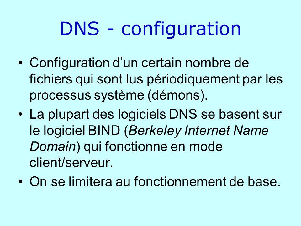 DNS - configuration Configuration d'un certain nombre de fichiers qui sont lus périodiquement par les processus système (démons).
