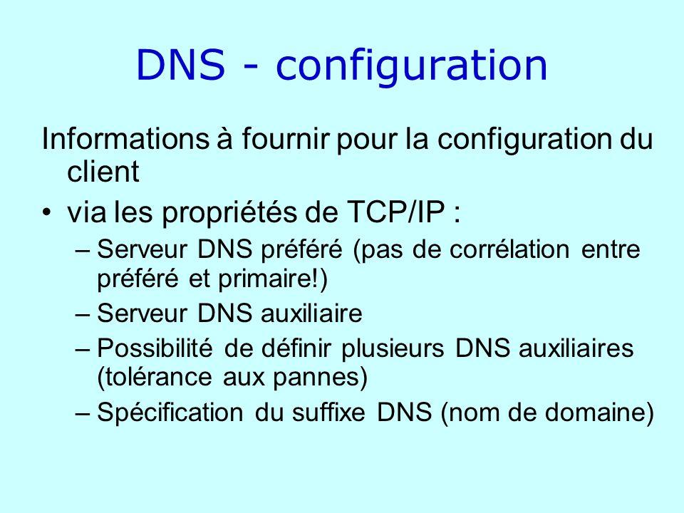 DNS - configuration Informations à fournir pour la configuration du client. via les propriétés de TCP/IP :