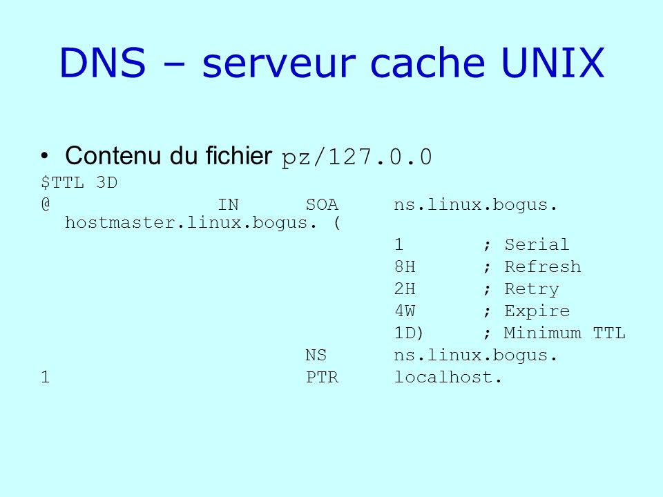 DNS – serveur cache UNIX
