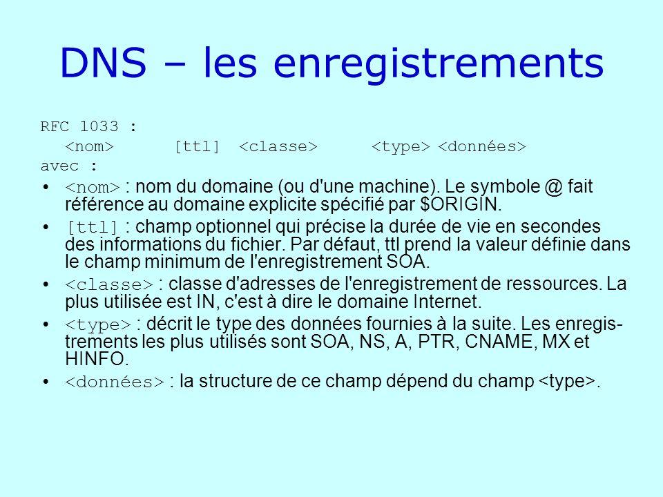 DNS – les enregistrements