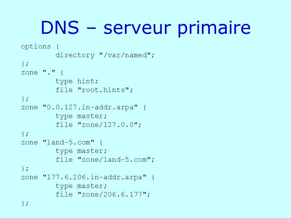 DNS – serveur primaire options { directory /var/named ; }; zone . {