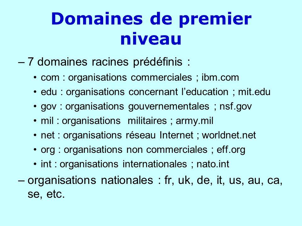 Domaines de premier niveau