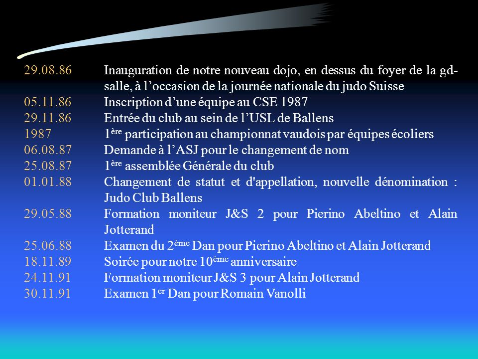 29.08.86 Inauguration de notre nouveau dojo, en dessus du foyer de la gd-salle, à l'occasion de la journée nationale du judo Suisse