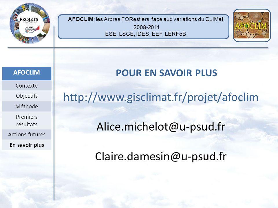 http://www.gisclimat.fr/projet/afoclim Alice.michelot@u-psud.fr
