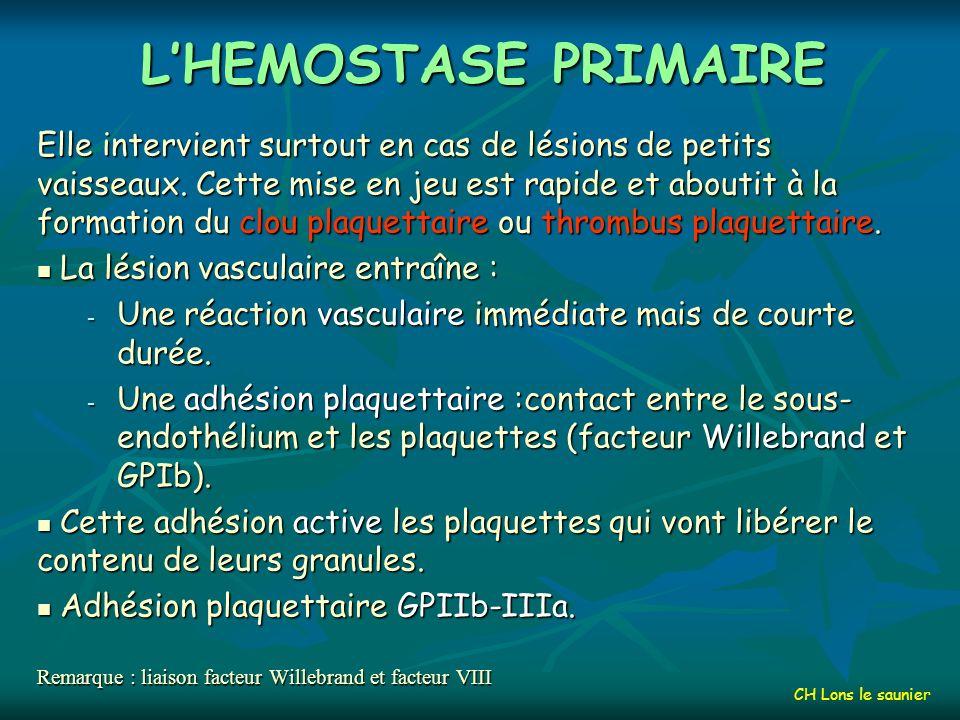 L'HEMOSTASE PRIMAIRE
