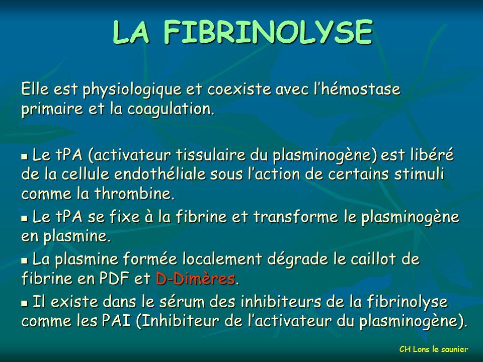 LA FIBRINOLYSE Elle est physiologique et coexiste avec l'hémostase primaire et la coagulation.