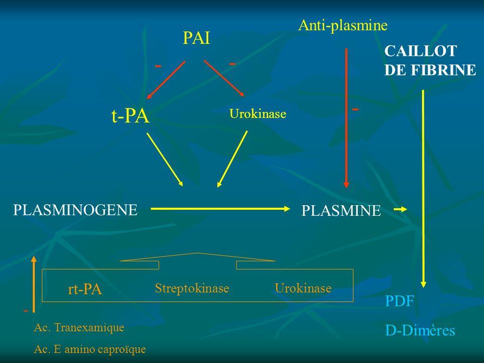 - - - t-PA PAI Anti-plasmine CAILLOT DE FIBRINE PLASMINOGENE PLASMINE