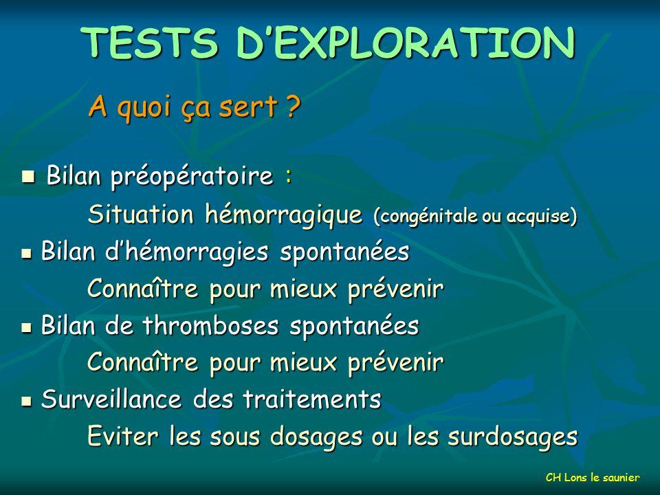 TESTS D'EXPLORATION Bilan préopératoire : A quoi ça sert