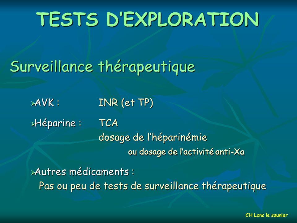 TESTS D'EXPLORATION Surveillance thérapeutique AVK : INR (et TP)