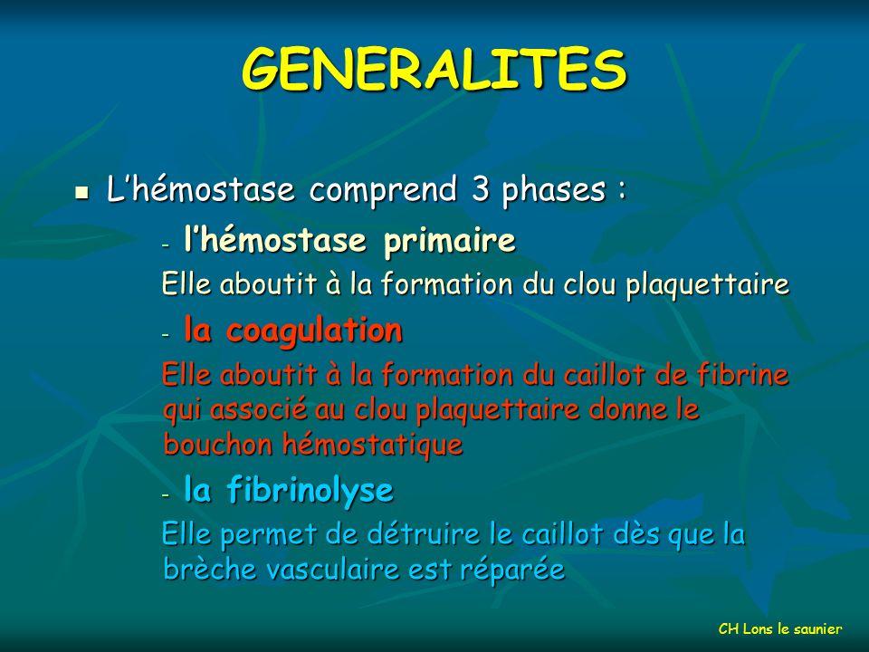 GENERALITES L'hémostase comprend 3 phases : l'hémostase primaire