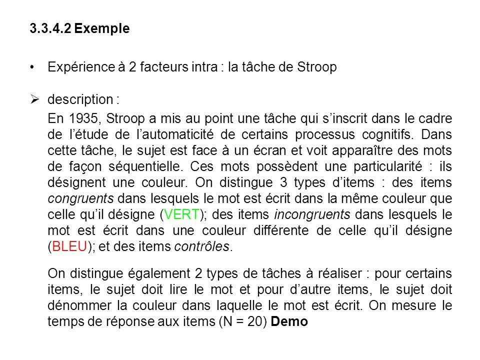 3.3.4.2 Exemple Expérience à 2 facteurs intra : la tâche de Stroop. description :
