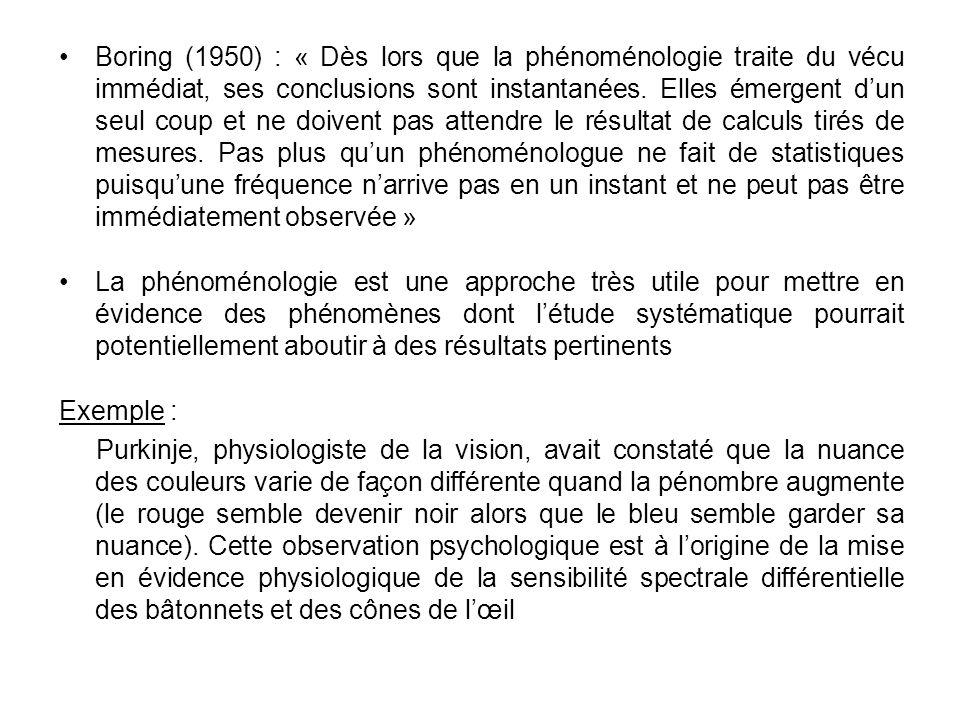 Boring (1950) : « Dès lors que la phénoménologie traite du vécu immédiat, ses conclusions sont instantanées. Elles émergent d'un seul coup et ne doivent pas attendre le résultat de calculs tirés de mesures. Pas plus qu'un phénoménologue ne fait de statistiques puisqu'une fréquence n'arrive pas en un instant et ne peut pas être immédiatement observée »
