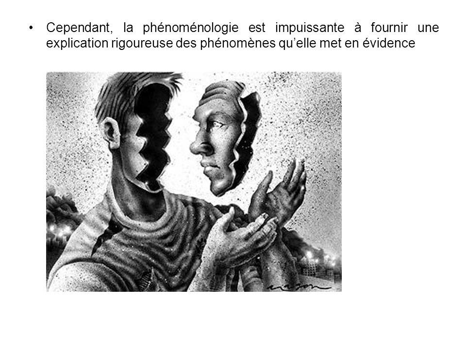 Cependant, la phénoménologie est impuissante à fournir une explication rigoureuse des phénomènes qu'elle met en évidence