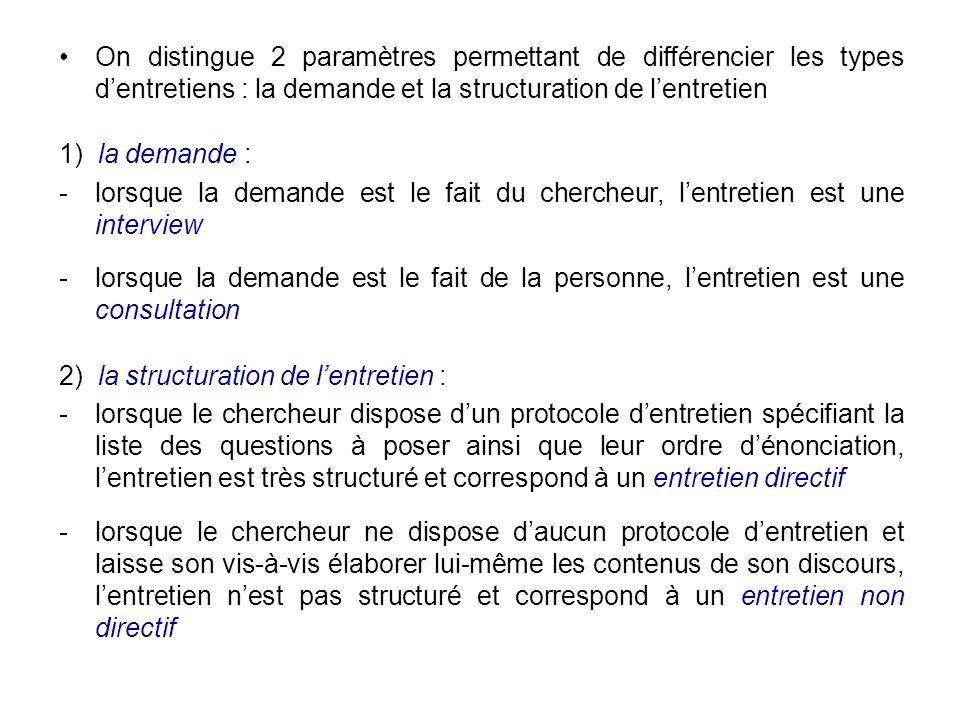 On distingue 2 paramètres permettant de différencier les types d'entretiens : la demande et la structuration de l'entretien