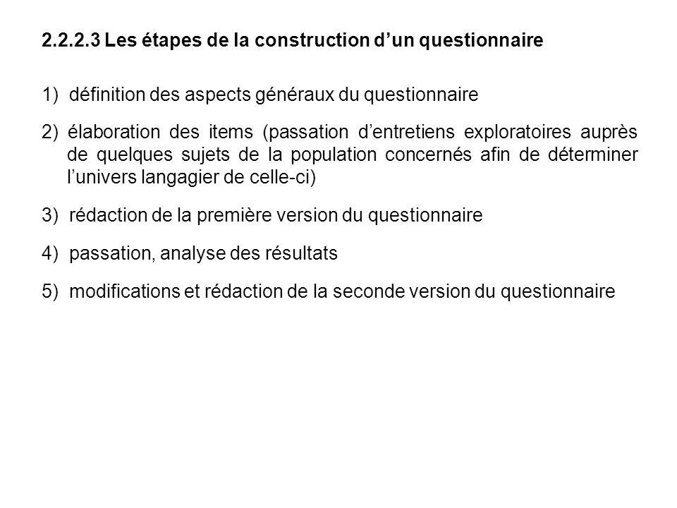 2.2.2.3 Les étapes de la construction d'un questionnaire