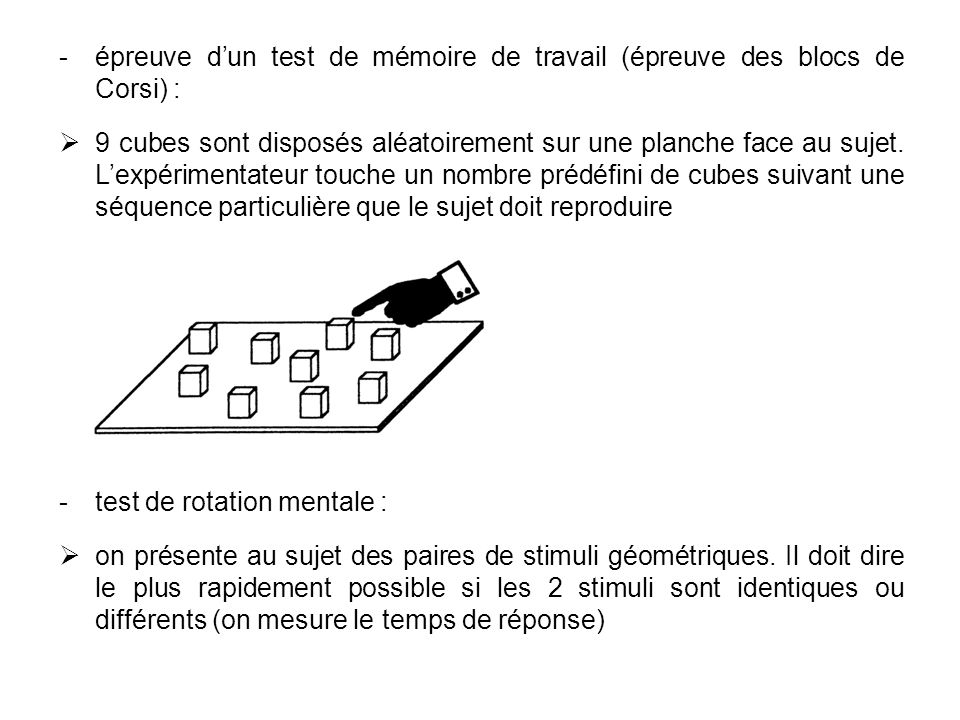 épreuve d'un test de mémoire de travail (épreuve des blocs de Corsi) :