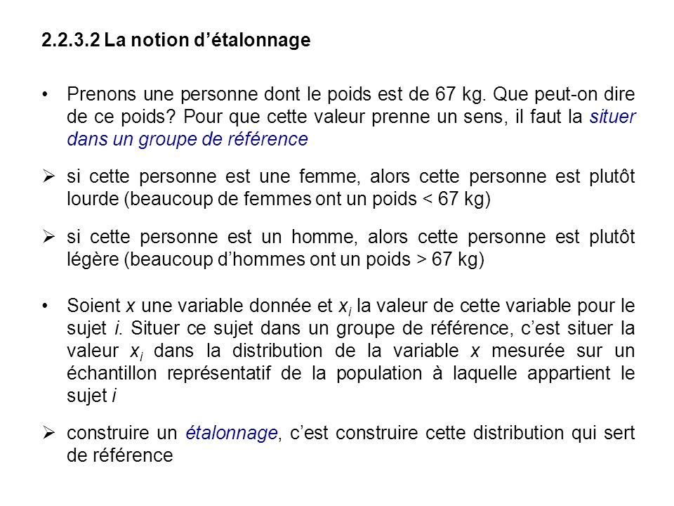 La notion d'étalonnage