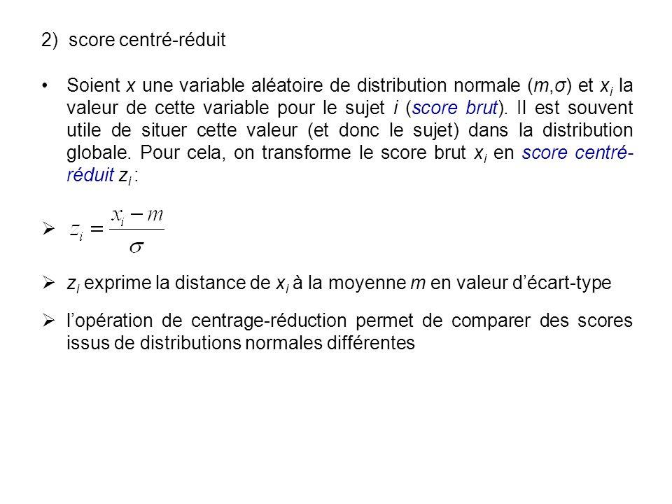 2) score centré-réduit