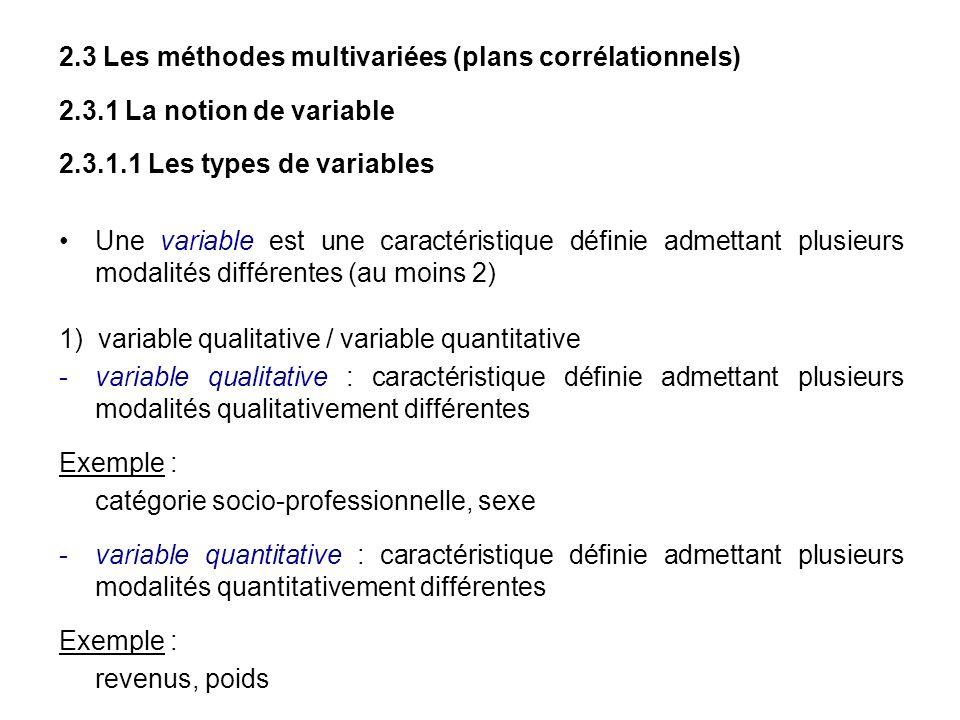 2.3 Les méthodes multivariées (plans corrélationnels)