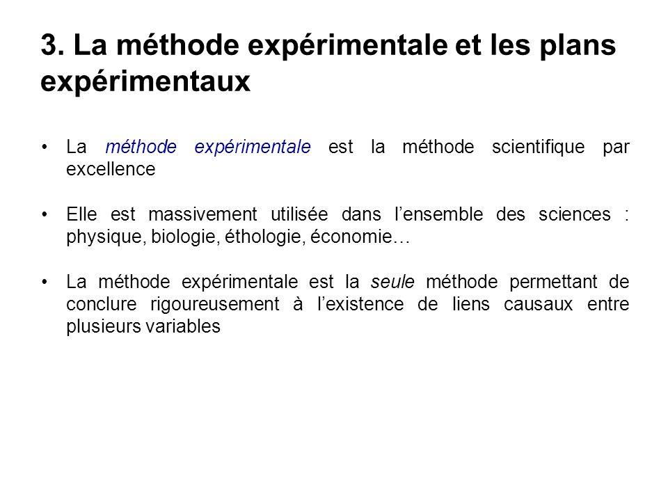 3. La méthode expérimentale et les plans expérimentaux