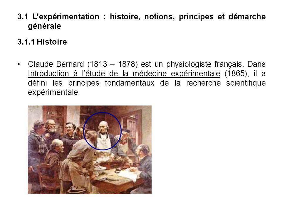 3.1 L'expérimentation : histoire, notions, principes et démarche générale