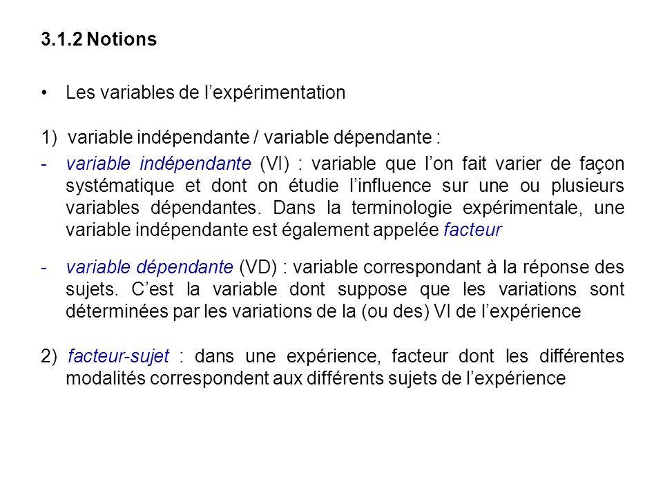 3.1.2 Notions Les variables de l'expérimentation. 1) variable indépendante / variable dépendante :