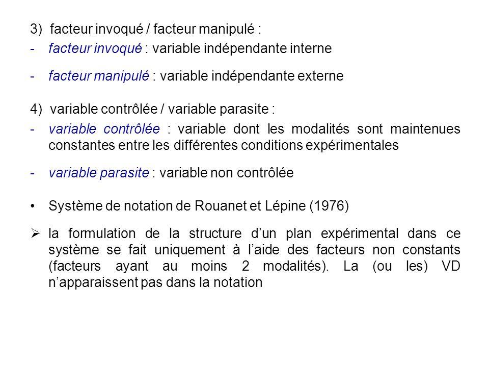 3) facteur invoqué / facteur manipulé :
