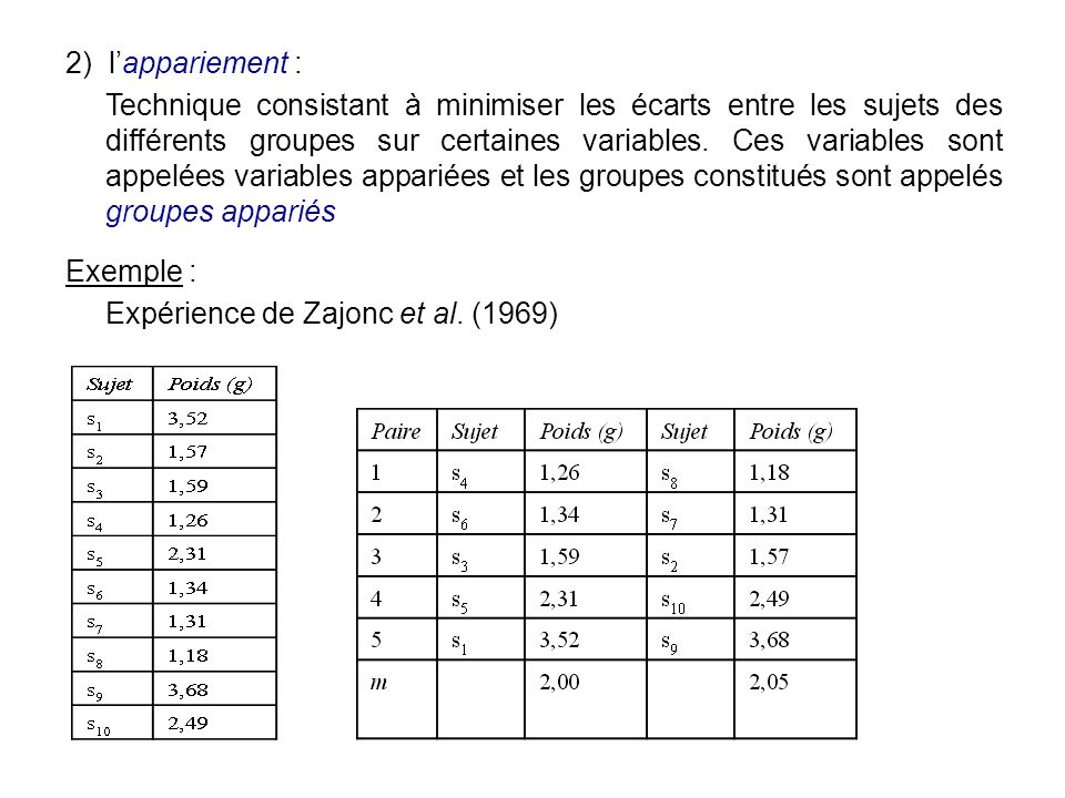 2) l'appariement :