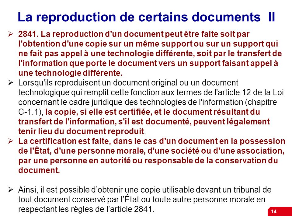 La reproduction de certains documents II