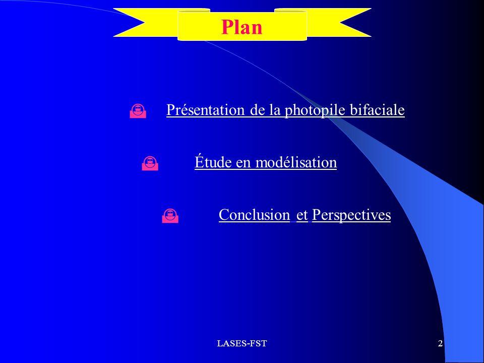 Plan Présentation de la photopile bifaciale Étude en modélisation