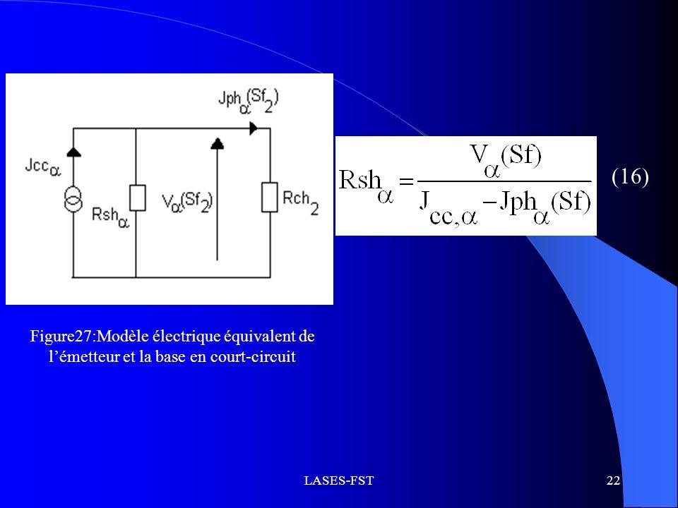 (16) Figure27:Modèle électrique équivalent de l'émetteur et la base en court-circuit LASES-FST